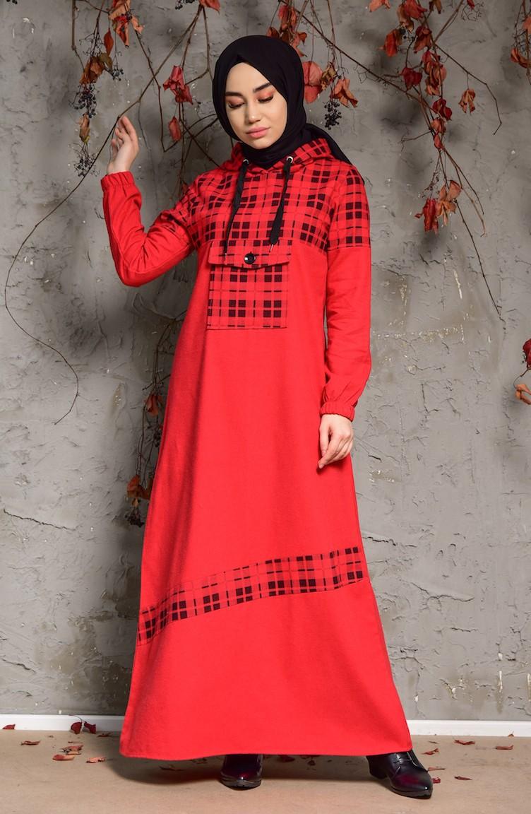 e67d91df8bab8 Kapüşonlu Elbise 4046-05 Kırmızı