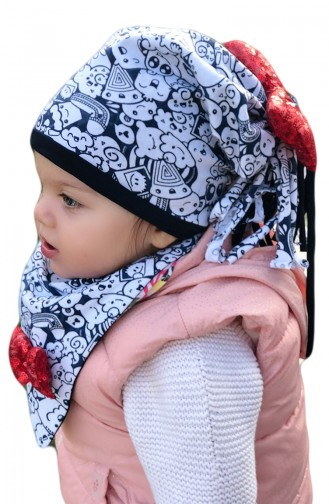 وشاح للرقبة وقبعة للأطفال BKSB004 لون ابيض 004