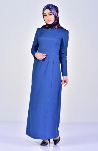 Pile Detaylı Elbise 2985-01 İndigo 2985-01