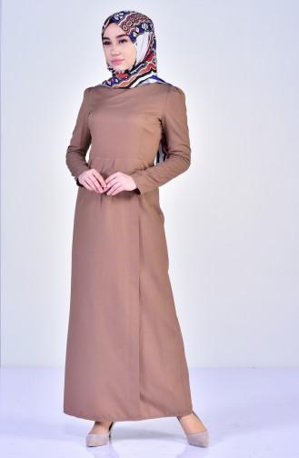 Pile Detaylı Elbise 2985-06 Sütlü kahve