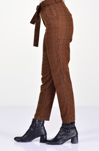 Plaid Patterned Straight Leg Pants 4002C-02 Mustard 4002C-02