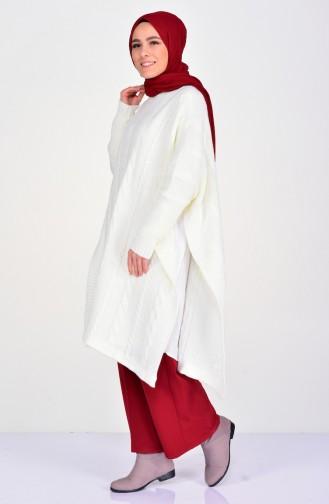 Knit Pattern Knitwear Poncho 8287-06 Ecru 8287-06
