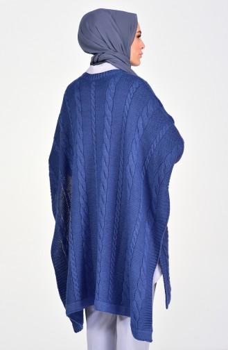 Knit Pattern Knitwear Poncho 8287-07 Indigo 8287-07