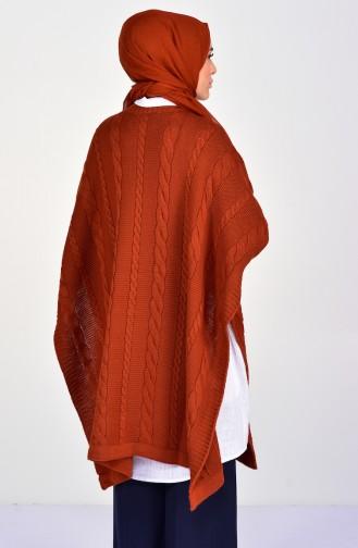 Knit Pattern Knitwear Poncho 8287-08 Red Tile 8287-08