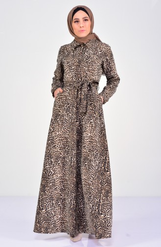 Casual Leopard Patterned Dress 4207-01 Brown 4207-01