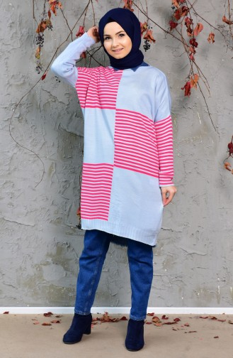 Striped Long Sweater 4709-05 Baby Blue 4709-05