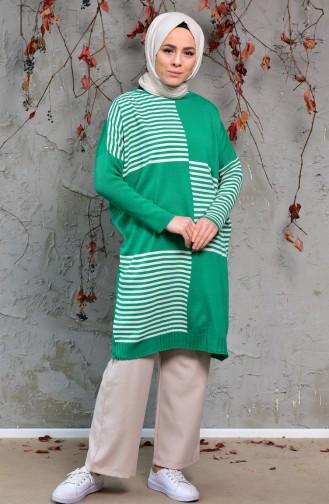 Striped Long Sweater 4709-01 Green 4709-01