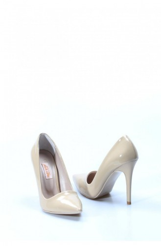 Fast Patent Leather Heeled Shoes 629Zs038496 Beige 629ZS038-496-16780630