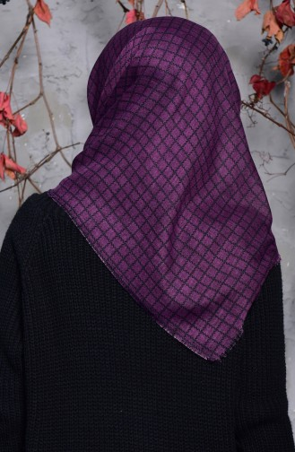 Kare Desenli Flamlı Cotton Eşarp 2123-17 Mor