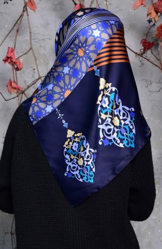 Karaca Geometric Patterned Rayon Shawl 90553-02 Navy Blue Indigo 90553-02