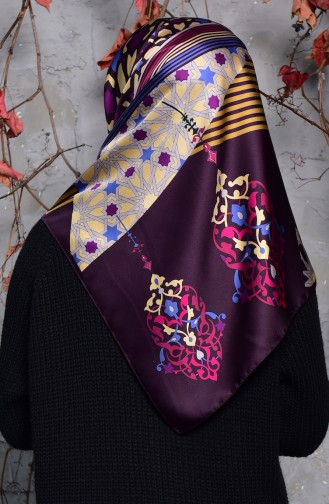 Karaca Geometric Patterned Rayon Shawl 90553-03 Plum Black 90553-03
