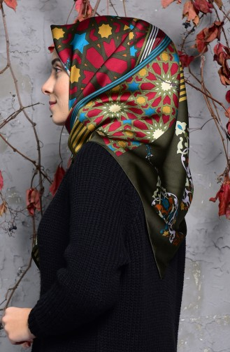 Karaca Geometric Patterned Rayon Shawl 90553-05 Khaki dark Beige 90553-05