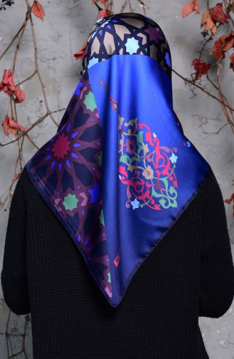 Karaca Geometric Patterned Rayon Shawl 90553-07 Navy Blue Plum 90553-07