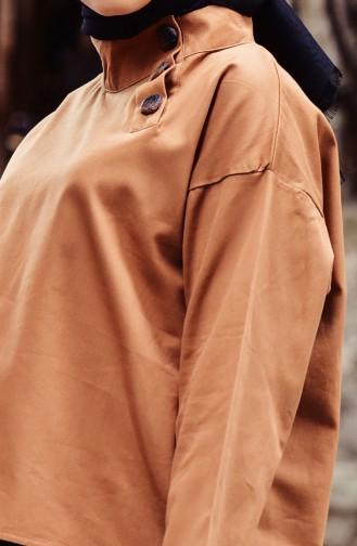 Düğmeli Asimetrik Tunik 30140-01 Camel