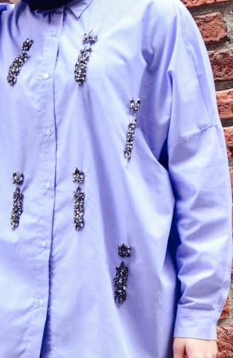 Stone Embroidered Shirt 30172-01 Blue 30172-01