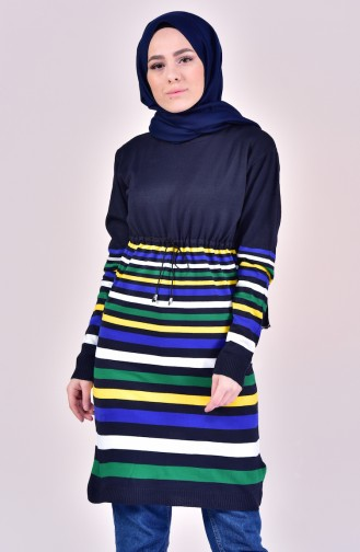 VMODA Striped Knitwear Sweater 5009-02 Navy Blue 5009-02