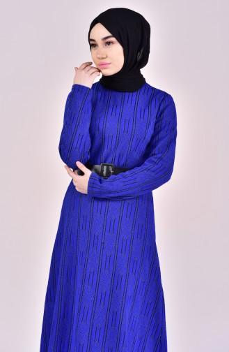 Robe a Motifs et Ceinture 7118-01 Bleu Roi 7118-01