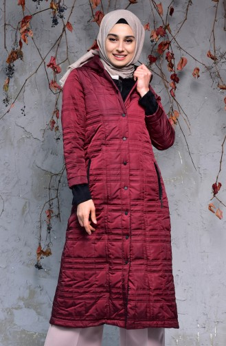 SUKRAN Hooded Quilted Coat 35780A-01 Claret Red 35780A-01