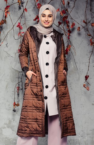 SUKRAN Hooded Quilted Coat 35780A-03 Brown 35780A-03