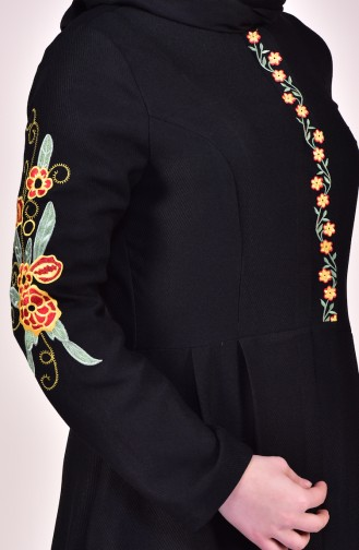 Hijab Mantel mit Stickerei 61262-04 Schwarz 61262-04