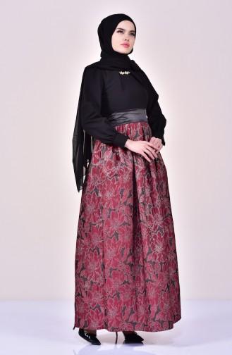 Claret red Islamic Clothing Evening Dress 2140-04