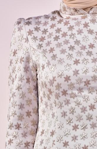 Kuplu Jakarlı Elbise 7210-04 Bej