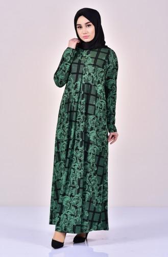 Simli Pileli Elbise 7119-04 Zümrüt Yeşili