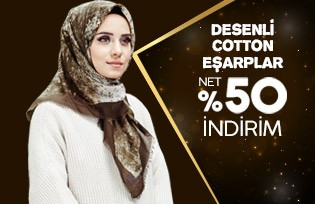 Desenli Cotton Eşarplar Net %50 İndirim