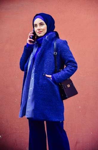 Felt Coat 182865-06 Navy Blue 182865-06