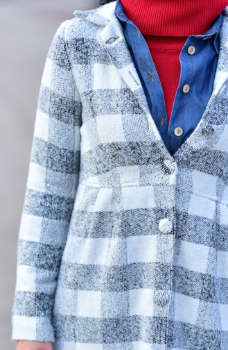 Checkered Cachet Coat 0251-04 White Gray 0251-04