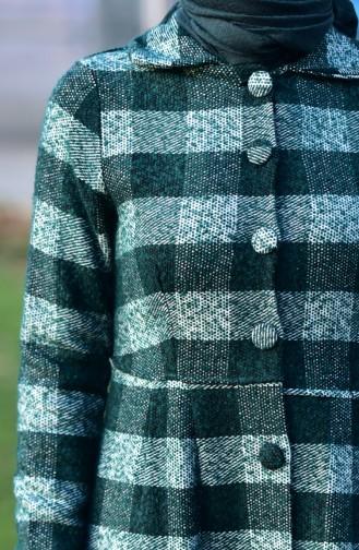 Kareli Kaşe Kaban 0250-02 Zümrüt Yeşil Beyaz