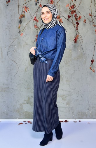 Striped Pencil Skirt 5962-06 Navy Blue 5962-06