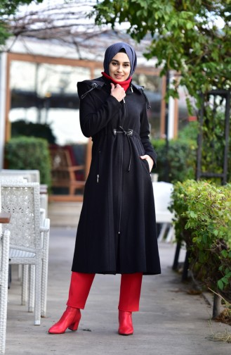 BURUN  Pleated Waist Cachet Coat 71199-01 Black 71199-01