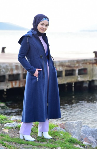 BURUN  Pleated Waist Cachet Coat 71199-05 Indigo 71199-05