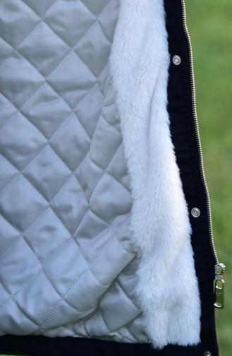 Furry Padded Coat 6007-02 Black 6007-02