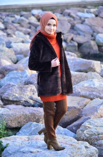 Mantel mit Pelz 182825-04 Braun 182825-04