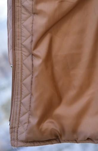 كاب بدون اكمام موصول بقبعة بتصميم مُبطن0109-02 لون كستنائي 0109-02