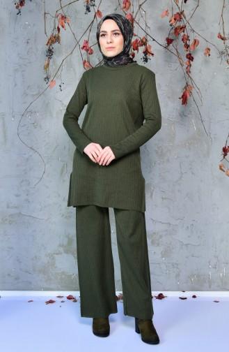 İnce Triko Tunik Pantolon İkili Takım 4094-04 Haki Yeşil