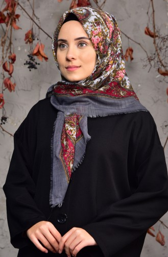 Patterned Flamed Cotton Shawl 2134-14 Smoked 2134-14