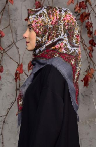 Şal Desenli Flamlı Cotton Eşarp 2134-14 Füme 2134-14