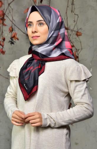 Desenli Twill Eşarp 95231-08 Füme Kırmızı