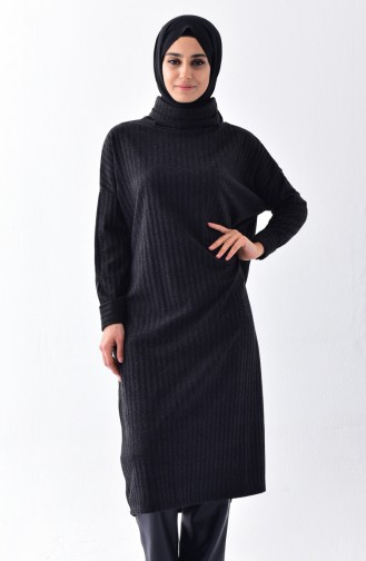 Polo-neck Tunic Long Tunic 1313-01 Black 1313-01