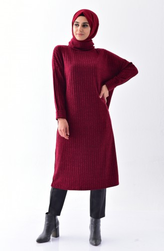 Polo-neck Long Tunic 1313-02 Claret Red 1313-02
