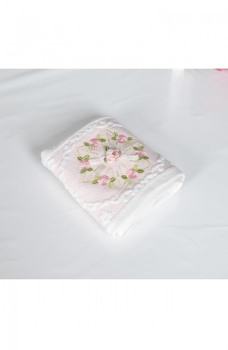 Cotton Rose Embroidered 30X50 Hand Towels 3443-01 White Pink 3443-01