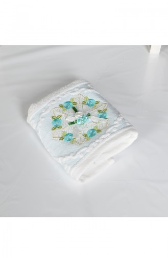 Cotton Rose Embroidered 30X50 Hand Towels 3443-02 White Blue 3443-02