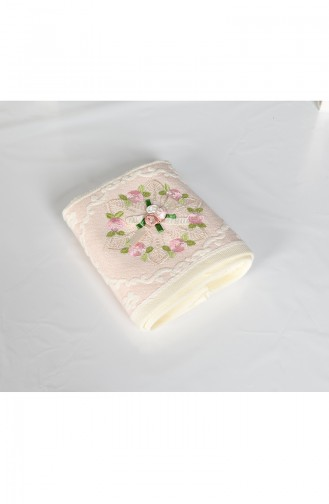 Cotton Rose Embroidered 30X50 Hand Towels 3443-03 Cream Pink 3443-03
