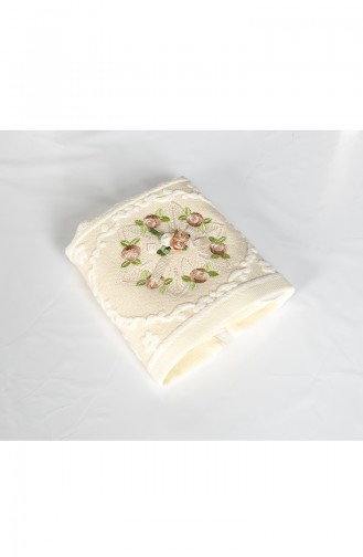 Cotton Rose Embroidered 30X50 Hand Towels 3443-04 Cream Beige 3443-04