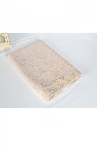 Cotton Laced 50X70 Foot Towels 3459-01 Beige 3459-01