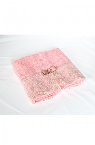 منشفة وجه قماش خيزران 50×90 بتفاصيل من الدانتيل 3464-02 لون وردي باهت 3464-02