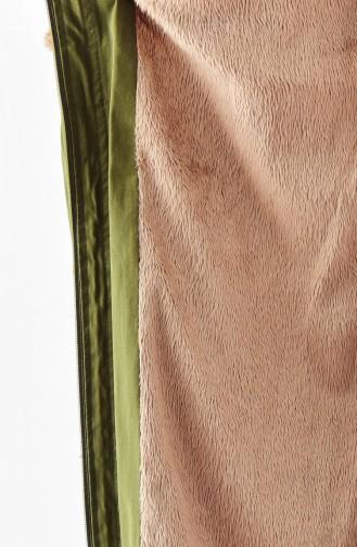 Furry Hooded Coat 1004-01 Khaki 1004-01